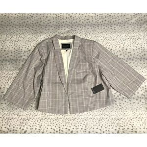 Eloquii Blazer Size 22 Plaid Tan 3/4 Sleeves
